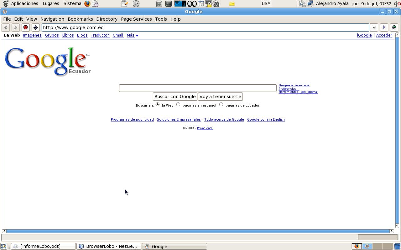Lobo Java Browser. Cambiando la página de inicio a google