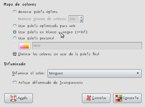 Fig 3. Opciones de indexado en The Gimp