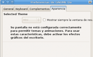 Gnome-Do, preferencias de la aplicación