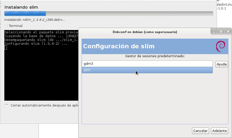 Te permite configurar el Gestor de Login el mismo instante de la instalación