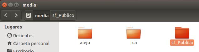 La carpeta compartida desde un OS Linux