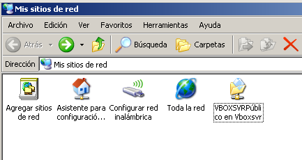 La carpeta compartida desde un OS windows