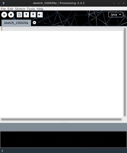 """El IDE de Processing con un """"sketch"""" en blanco listo para empezar a programar"""