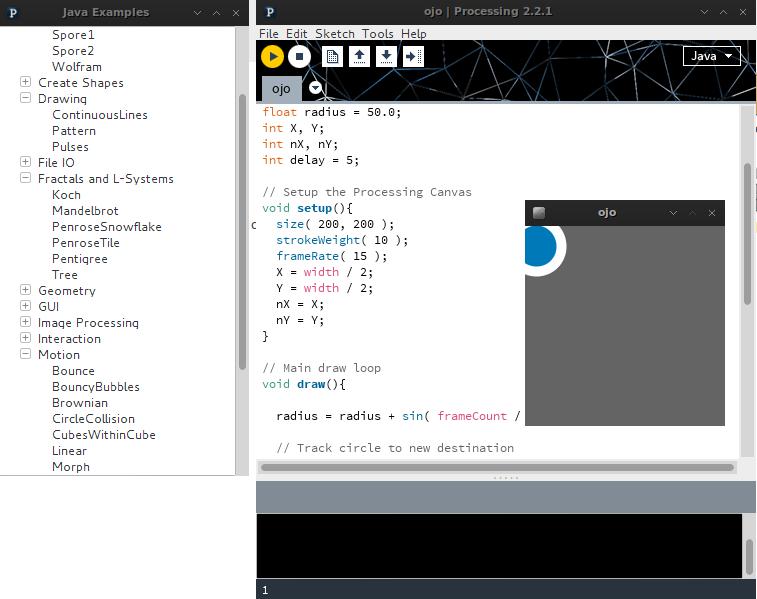 """Ventanas a la izquierda con el listado de ejemplos, a la derecha el sketch con el código y el """"ojo de Sauron"""" ejecutándose"""