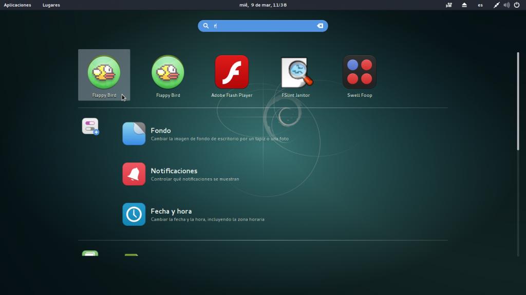 Menu gnome3 de Debian 8 con Flappy Bird instalado